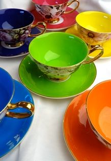Satin Shelly Bone China Teacup/Saucers Sets, multiple colors