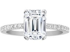 Emerald Cut Diamond Engagement Ring Pave Band in 14K White Gold