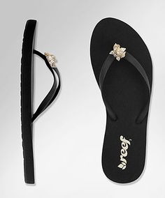 REEF beach shore flip-flops  $34  -girls essentials sandal  -thin rubber stra features exotic embellishments  -squishy EVA footbed provides superior comfort  -durable rubber outsole