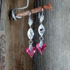 Dangle Swarovski Heart earrings - Surgical Steel Jewelry - french clip by SteelJewelryShop on Etsy