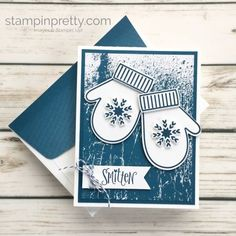 Learn how to create this winter holiday card using Stampin' Up! Smitten Mittens & Many Mittens Dies - Mary Fish StampinUp ideas