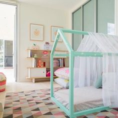 Love the mint color for the floor bed also. Also love the painted…