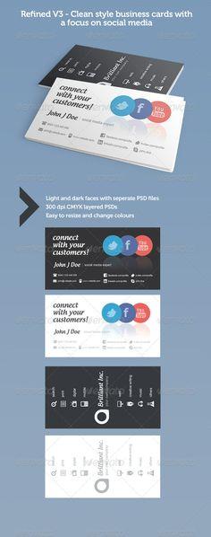 Refined V3 : Social Media Business Cards - Creative Business Cards