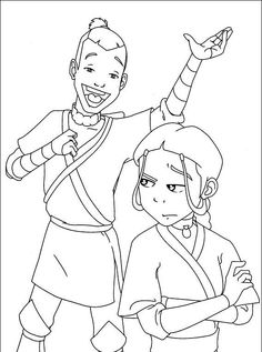 i have download team g katara sokka annoyance coloring page