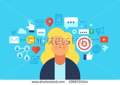 Social media network, influencing, online marketing. Flat design modern vector illustration concept.