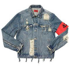 Tyga Wears 424 Denim Jacket, Amiri Jeans and Yeezy Boost Sneakers in... ❤ liked on Polyvore featuring jackets, outerwear, tops and coats & jackets