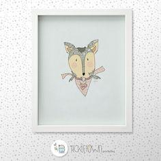 Mr.Fox Printable Illustration. Nursery art. 8x10 Wall decor artwork. Children's illustration. Instant download.