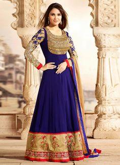 Vibrant #LaraDutta Blue Floor Length #Anarkali Suit