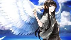 brunettes angels clouds wings long hair feathers fantasy art smiling anime anime girls skies