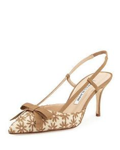 Galop+Mod+Floral+Raffia+Slingback+Pump,+Taupe+by+Manolo+Blahnik+at+Neiman+Marcus. #manoloblahnikheelsneimanmarcus #manoloblahnikslingback