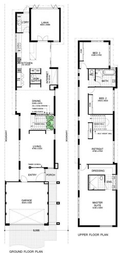 Featuring an extraordinary elevation this design boasts a frontage of only - the perfect choice for a narrow block! House Plans 2 Story, Two Storey House Plans, Narrow Lot House Plans, Duplex House Plans, Best House Plans, Dream House Plans, House Floor Plans, Narrow House Designs, Weatherboard House