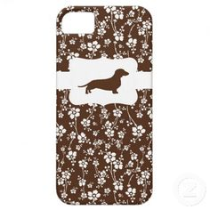 BrownWhite Floral w/Dachshund iPhone 5 Case