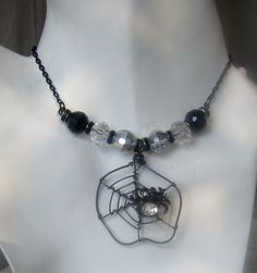 Dramatic Spiderweb Sparkle Necklace Black, Silver & Crystal Halloween/Fall Fun by AGreenWoods on Etsy