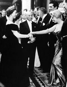 Marilyn Monroe meets the Queen, 1956