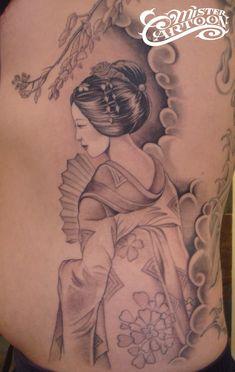 Geisha Tattoo On Back Body