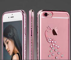 iPhone SE Bling Bling Diamond Rhinestone Cases Peacock Shell Swan Plating Frame…