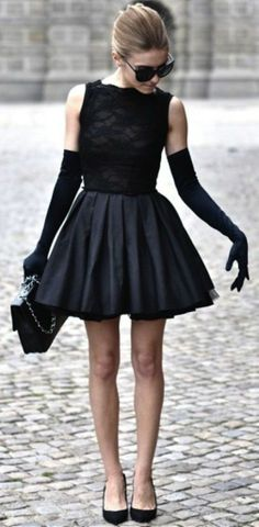 This inspires: See through black blouse and upcoming black skirt with black flats.