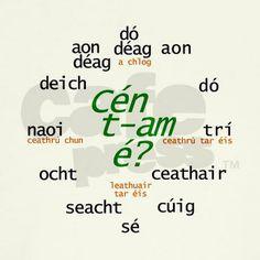 Irish Gaelic  | what_time_is_it_irish_gaelic_wall_clock.jpg?height=460&width=460 ...