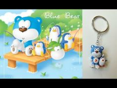 a tutorial video on how to make blue bear clay charm key chain