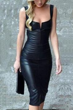 0514ea69dd Elegant Black Sleeveless PU Bodycon Dress