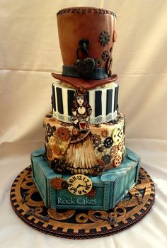 Steampunk Wedding Cake - by RockCakes @ CakesDecor.com - cake decorating website