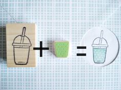 Smoothie stamp Cold drink Summer stamp by JapaneseRubberStamps, £7.00