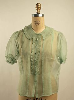 Blouse Date: 1930s Culture: French Medium: silk Dimensions: Length at CB: 21 in. (53.3 cm)