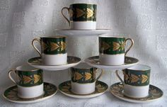 Vintage Caracas Pattern by Spode 6 Demitasse Cups & Saucers - Hard to Find Patt.