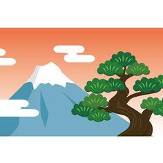 1月背景 無料イラスト(富士山と松)