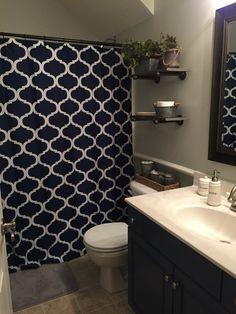 Boys bathroom remodel - industrial decor, grey and navy