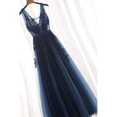 On Sale Admirable A-Line Prom Dresses, Tulle A-Line V-Neck Floor Length Long Prom Dress With Appliques