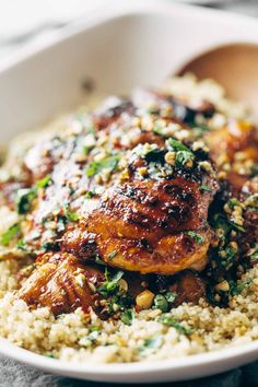 Spicy Thai Chicken and Quinoa, made with chili sauce, agave, lime juice, garlic, cilantro, and peanuts! Sticky, saucy, and delicious. #recipe #dinner #chicken #quinoa #easyrecipe | pinchofyum.com