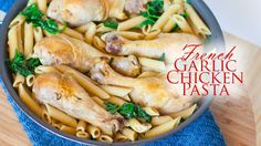 Chicken and pasta never tasted so good! Tender, juicy pieces of chicken are cooked in a garlic, rosemary, thyme and wine broth. Make it a meal by adding some...