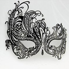 Punk Style Black Metal Hollow Carnival Masquerade Mask with Gemstone – USD $ 29.99