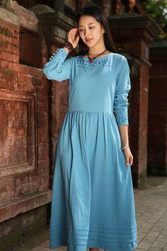 maxi dress in cerulean blue layered pintuck dress long linen