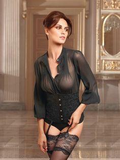 Black sheer bustier/blouse