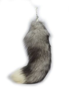 Ursfur New 100% Real Silver-blue Fox Tail Fur Bag Keychain Keyring Hanging Gift ** Want to know more, click on the image.