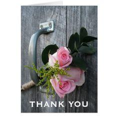 Farm Wedding Thank You Cards Pink Roses & Barn Door Thank You Card