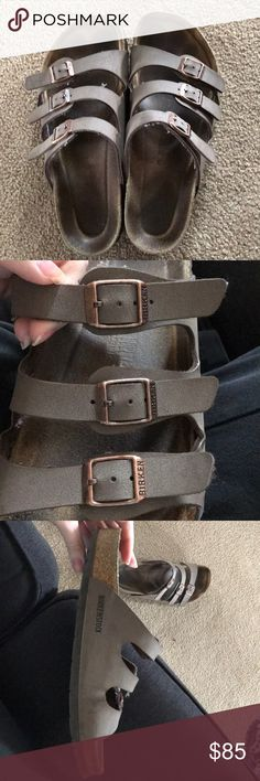 birkenstock sandals light brown 3 strap EUC. only sign of wear is the discoloration from my foot impression on the sole. most comfortable shoes i just want a 2 strap instead. women's 10 but can fit a 9 Birkenstock Shoes