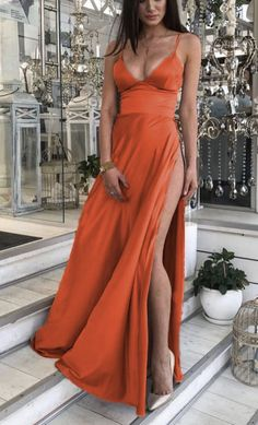 long burnt orange bridesmaid dresses side split formal gown Burnt Orange Bridesmaid Dresses, Cheap Bridesmaid Dresses Online, Long Bridesmaid Dresses, Wedding Bridesmaids, Formal Wedding, Boho Wedding, Mermaid Dresses, Formal Gowns, Blue Fashion