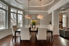 Love these drum pendants w Revere Pewter walls