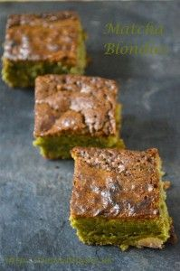 Recipe for Matcha Blondies. Brownies made with white chocolate rather than dark chocolate and including nutritious matcha green tea powder.