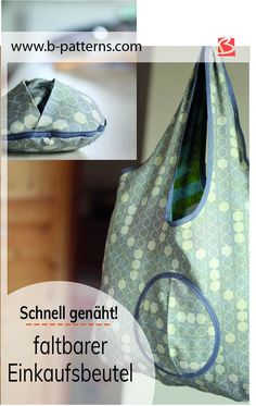 Foldable shopping bag - easy to sew!- Sew the shopping bag – the practical folding bag 3 times different. The shopping bag is sewn quickly and easily and can be folded up at lightning speed. Costura Diy, Diy Mode, Macrame Bag, Simple Bags, Sew Simple, Diy Sewing Projects, Types Of Bag, Knitted Bags, Crochet Bags