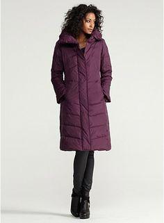 High Collar Knee-Length Zip Coat in Weather Resistant Down
