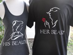 Beauty & The Beast couples shirts comes with matching his and her Shirts. COLORS: WHITE, BLACK, RED, AND YELLOW.      SIZE CHART   …