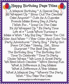 Green Eyed Girl Crafts...: Birthday Title Pages...