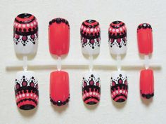 Coral, Black and White Fake Nails with Aztec / Tribal Print, Dots and Black Rhinestones Handpainted False Nail Set