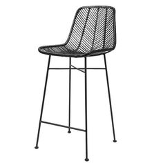 x x Rattan Bar Stool, Grey w/ Grey Metal Frame. A sleek grey rattan stool with a braided weave and black metal frame creates an open and airy feel to your decor.