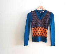 1970s Vintage Sweater - 70s clothing - Chevron - Blue V Neck Sweater - Thin - Multicolor - xs small