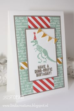LizDesign Stampin Up No Bones About it In Colors 2015-2017 Dinosaurs Card